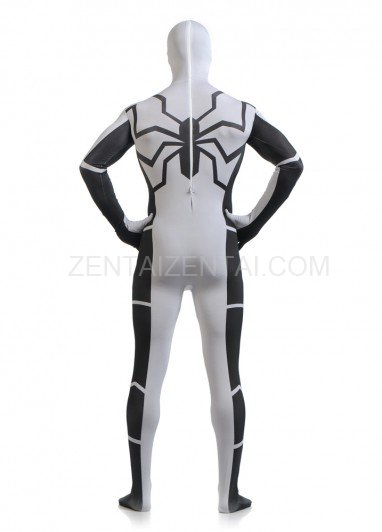 White and Black Spiderman Super Hero Halloween Full Body Spandex Holiday Unisex Lycra Morph Zentai Suit