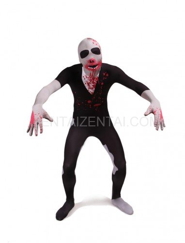 Black Blooding Full Body Halloween Spandex Holiday Unisex Cosplay Zentai Suit