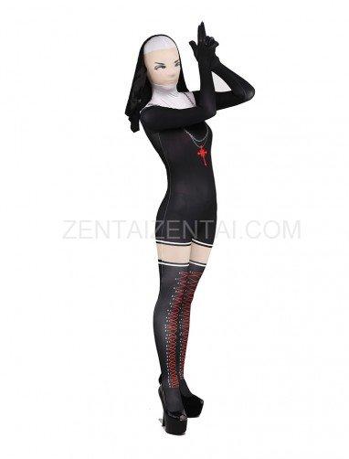 Black and White Jesus Ssiter Halloween Full Body Spandex Holiday Unisex Lycra Morph Zentai Suit