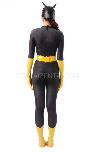 Black and Yellow Batman Halloween Full Body Spandex Holiday Unisex Lycra Morph Zentai Suit
