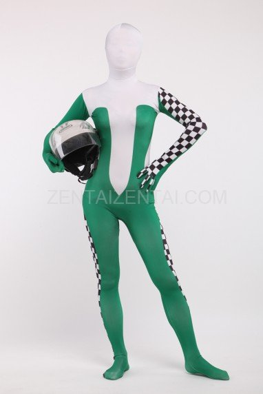 Green Formula One Full Body Spandex Holiday Unisex Cosplay Zentai Suit