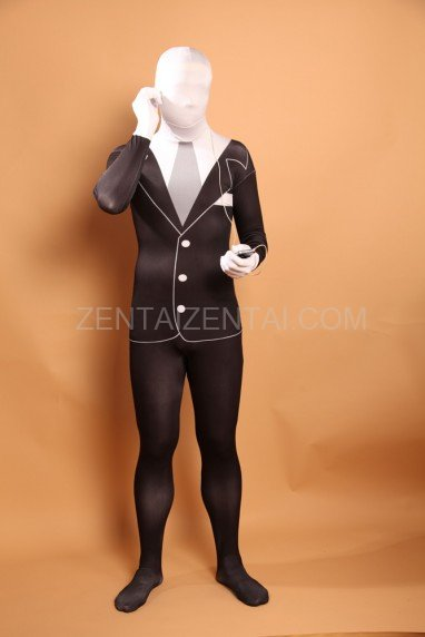 Men\'s Black and White Halloween Full Body Spandex Holiday Unisex Lycra Morph Zentai Suit