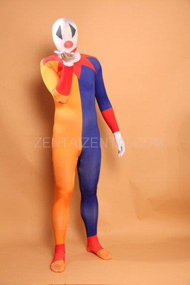 Orange and Blue Clown Halloween Full Body Spandex Holiday Unisex Lycra Morph Zentai Suit