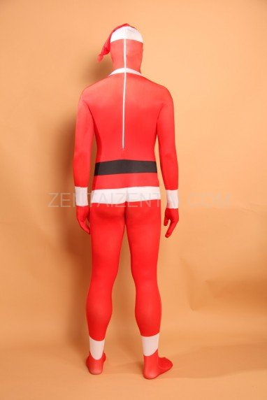 Red Christmas Sata Clause Halloween Full Body Spandex Holiday Unisex Lycra Morph Zentai Suit