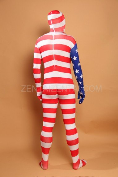 Usa National Flag Stripe Full Body Halloween Spandex Holiday Unisex Cosplay Zentai Suit