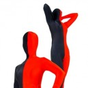 Fullbody Full Body Half Red Half Black Spandex Morph Zentai Suit