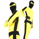 Black with Yellow Lycra Spandex Unisex Morph Zentai Suit