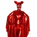 Red Shiny Metallic Unisex Catsuit with Mask and Cape