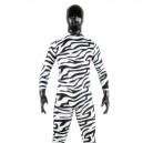 Black And White Zebra Patern Shiny Metallic Lycra Spandex Morph Zentai Suit