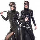 Supply Front Open Sexy Shiny PVC Catsuit with Whip and Mask
