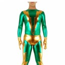 Green & Golden Shiny Metallic Morph Zentai Suit