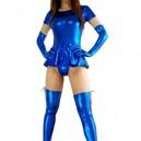 Supply Blue Short Sleeves Shiny Metallic Sexy Dress