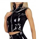 Front Open Black Sexy Shiny PVC Catsuit