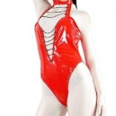 Red Shiny PVC Sleeveless Women's Leotard