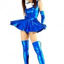Supply Blue Shiny Metallic Bowknot Mini Skirt Suit
