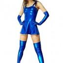 Supply Unusual Suitable Blue Shiny Metallic Sexy Dress