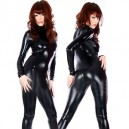 Supply Black Shiny Metallic Catsuit