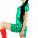 Supply Green Shiny Metallic Half Length Unisex Catsuit