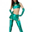 Supply Green Shiny Metallic Sexy Four-Set Costume