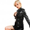 Supply Shiny Metallic Black Jacket with Mini Skirt