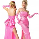 Supply Shiny Metallic Pink Night Gown with Long Gloves