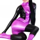Supply Shiny Metallic Purple with Black Unisex Catsuit