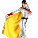 Silver Shiny Metallic Bat Woman Costume with Mantle