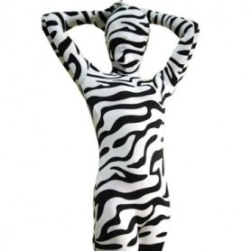 Fullbody Full Body Zebra Pattern Spandex  Morph Zentai Suit