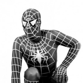 White Stripe Black Lycra Spandex Spiderman Morph Zentai Costume - Spider man 3 Costume