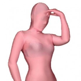 Unusual Top Cool Unicolor Fullbody Full Body Pink Spandex Morph Zentai Suit