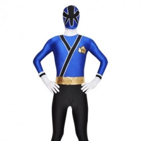 Blue and Black Lycra Spandex Unisex  Morph Zentai Suit