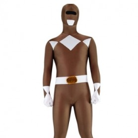 Coffee and White Lycra Spandex Unisex Morph Zentai Suit
