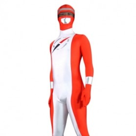 Red And Sliver Pattern Lycra Spandex Unisex Morph Zentai Suit