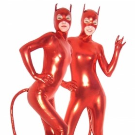 Red Devil PVC Catsuit with Mask and Tail
