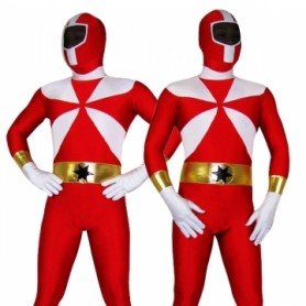 Red With White Lycra Spandex Morph Zentai Suit