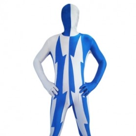 White And Blue Lycra Spandex Unisex Morph Zentai Suit
