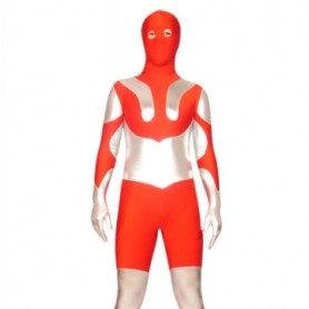Red And Silver Lycra Spandex Super Hero Morph Zentai Suit