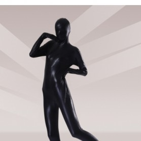 Black Shiny Metallic Unisex Morph Zentai Suits