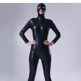 Classic Black Shiny Metallic Male Morph Zentai Suit