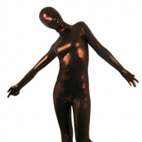 Coffee Shiny Metallic Unisex Morph Zentai Suit
