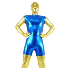 Gold And Blue Shiny Metallic Morph Zentai Suit