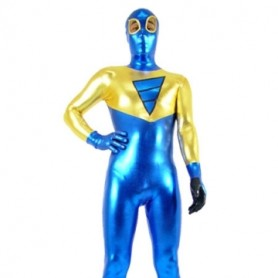 Gold And Blue Shiny Metallic Super Hero Morph Zentai Suit
