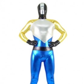 Gold Silver Black And Blue Shiny Metallic Super Hero Morph Zentai Suit