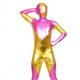 Pink And Gold Shiny Metallic Morph Zentai Suit