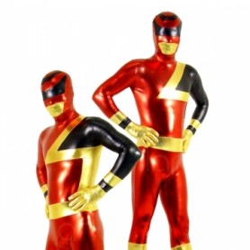 Red and Black Shiny Metallic  Super Hero Unisex Morph Zentai Catsuit