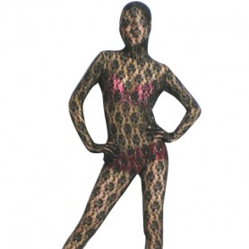 Black Transparent Lace Velour Morph Zentai Suit