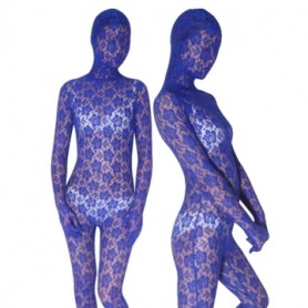 Blue Transparent Velvet Unisex Morph Zentai Suit