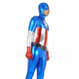 Captain America Shiny Metallic Morph Zentai Suit