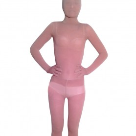 Flesh Transparent Velour Unisex Morph Zentai Suit