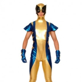 Gold Blue And Black Shiny Metallic Super Hero Morph Zentai Suit